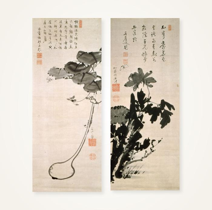 瓢箪・牡丹図 瓢箪・牡丹図 | 作品紹介 | 伊藤若冲 - 若冲が生きた京都とその時代 | 京の